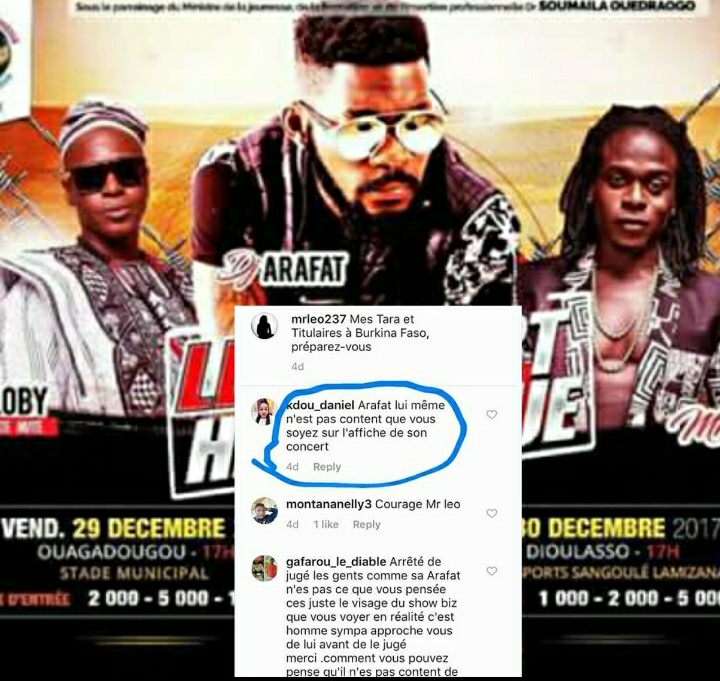 DJ Arafat is reportedly not happy with organisers of his Burkina Faso concert for featuring Mr Leo's pic on poster.