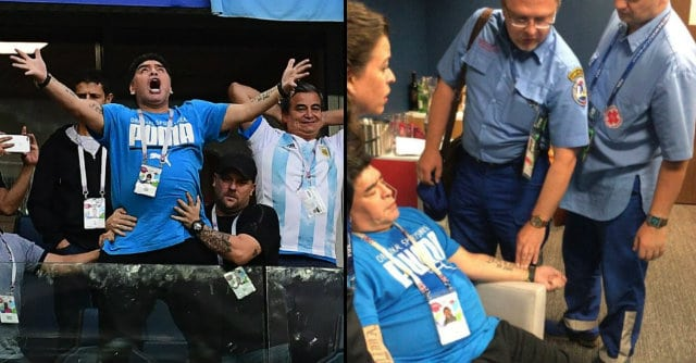 Diego Maradona treated by paramedics after appearing to collapse at Argentina vs Nigeria World Cup 2018 game